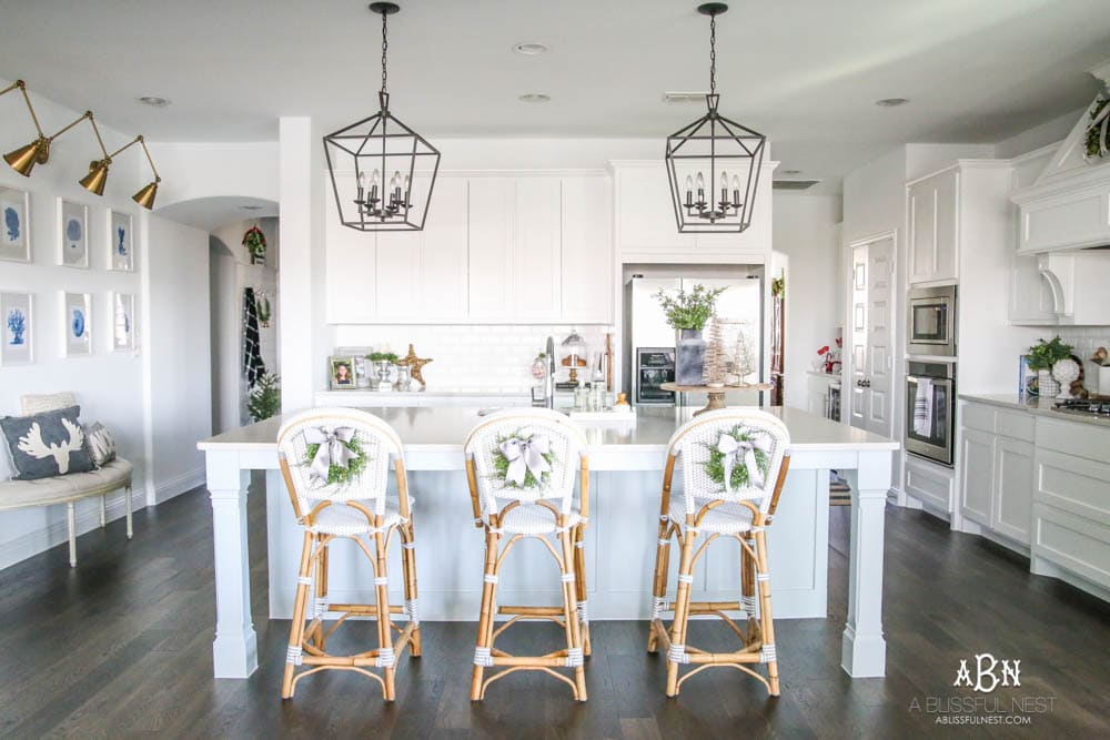 christmas kitchen home tour blue and silver christmas kitchen decor all white kitchen with subtle holiday decor for a