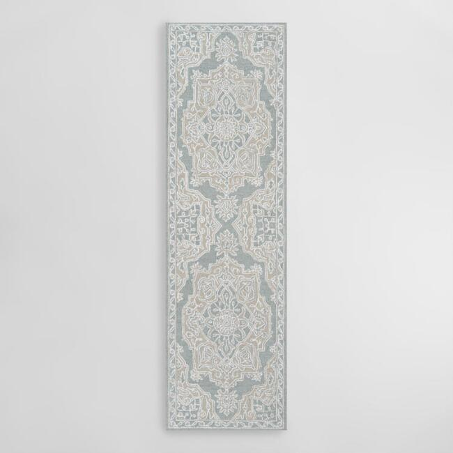 Light Blue Medallion Tufted Area Rug