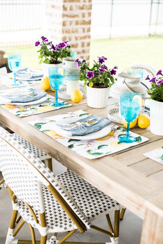 Gather melamine outdoor entertaining pieces for effortless spring decorating on the patio. #ABlissfulNest #springideas #springdecor