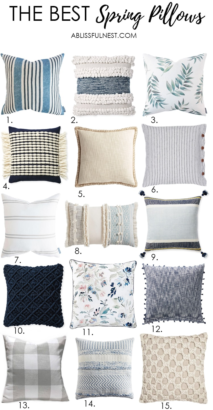 Grab the sources to the best spring pillows for the season! #ABlissfulNest #springdecor #springideas