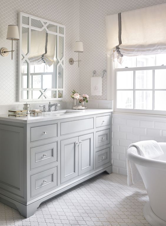 Gorgeous Grey and White Bathroom by Chenault James