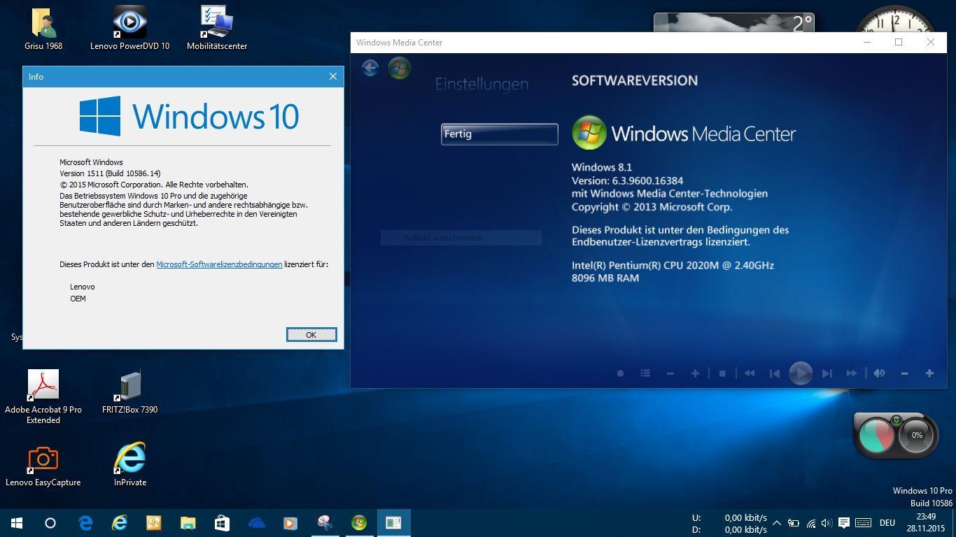 Windows 10 mit Windows Media Center von Windows 8.1