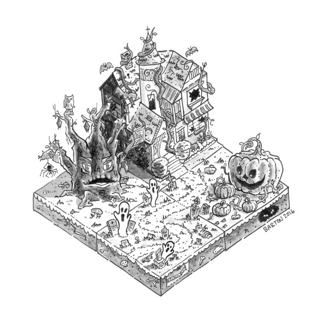isometric haunted house