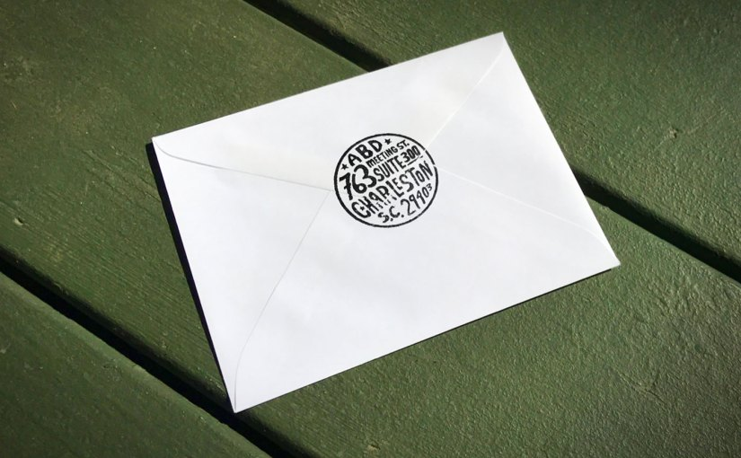 typographic return stamp