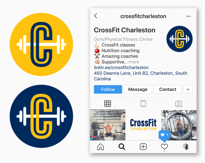 Icon in two color options and IG mock up