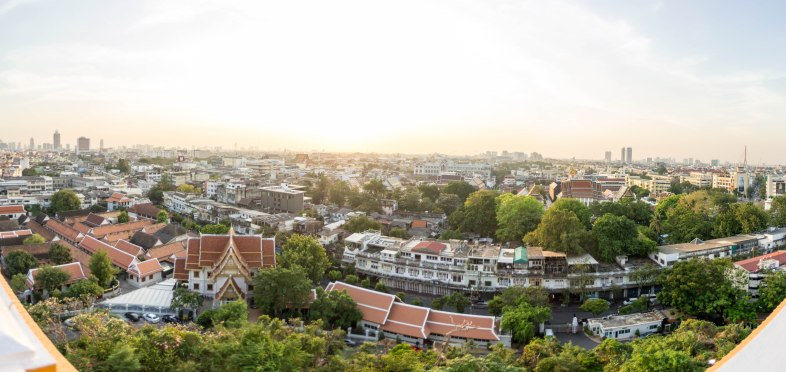And a panorama of the sunset from Wat Saket.