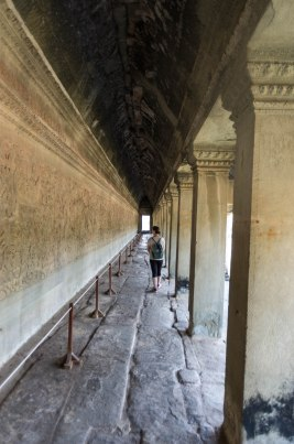 And here we are walking alongside one of the four bas reliefs in Angkor Wat. — with Madelen Abrahamsen.