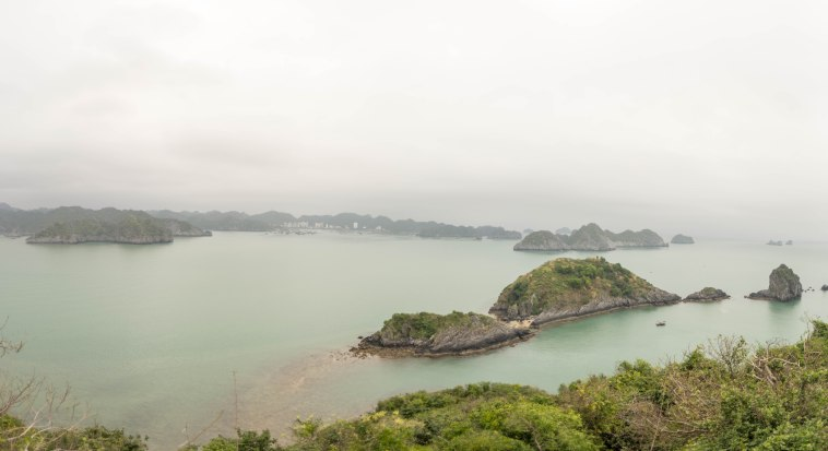 A view from the top of our own private island, from where you can see the main city of Cat Ba.