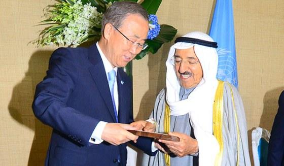 Ban Ki-moon presented His Highness the Amir of the State of Kuwait, Sheikh Sabah Al Ahmad Al Jaber Al Sabah
