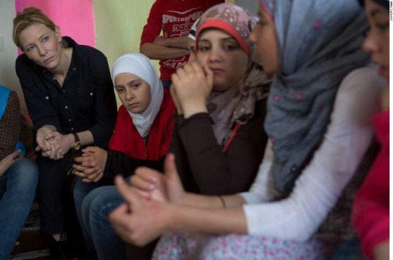 Cate Blanchett meets young Syrian refugees at Mazboud Community Center in Lebanon, in this May 2015 file photograph.