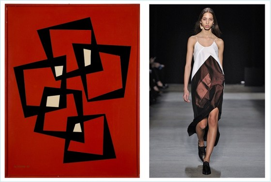1.) Artwork by Maria Freire, 21 de Enero, 1957.  2.) Narciso Rodriguez/Fall 2016 Collection)