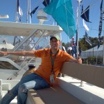 At the helm of a giant catamaran