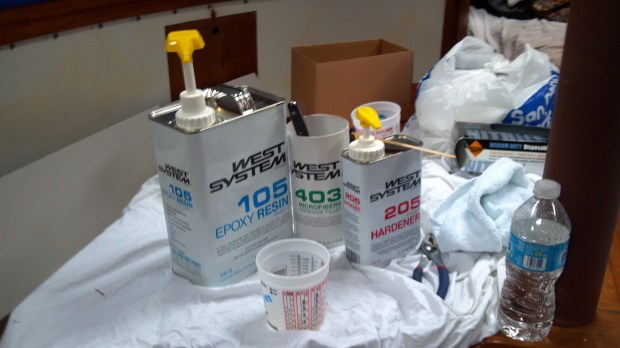 The three parts of the West Systems Epoxy: Epoxy resin, filler and hardener