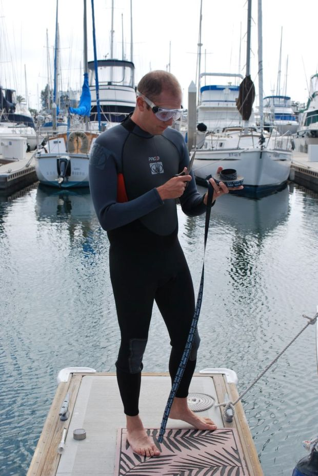 All dressed up in my new wetsuit and goggles