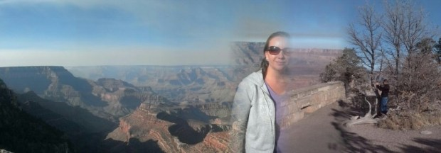 I played with the panorama view on my cellphone and got this ghostly image of Natalie