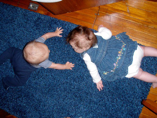 Sully and Anais played together on the floor