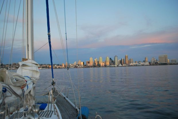 On our way towards downtown. We motored past the Maritime Museum's ships, enjoyed the sunset and headed back to the slip.