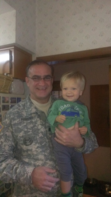 Uncle Todd came by to visit in his Army uniform
