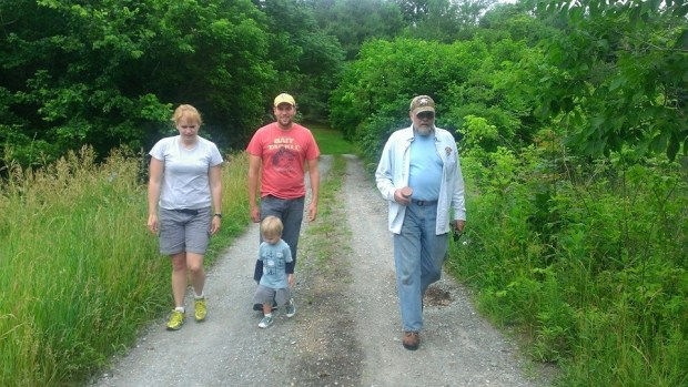 Walking down to the pond at Nicole and Karl's with Lizze, Sully, me and Pappy