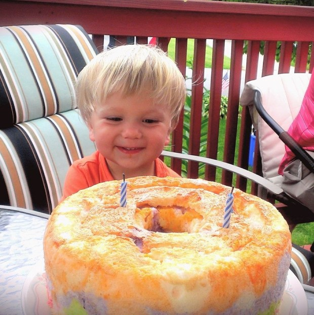 Sully's 2nd birthday! My mom made Sully an angelfood cake