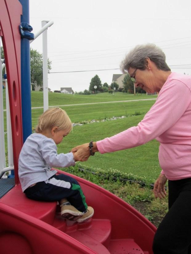 Playing with Nana Kraft at the park