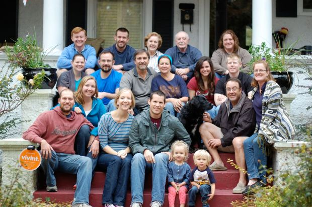 The whole Ferring Family congregated on TIm and Martha's front porch in Norfolk, VA