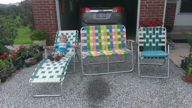 Checking out Grandma Ness's yard sale chairs