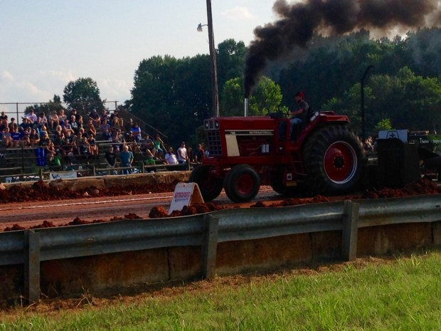 A big tractor at the start of it's pull