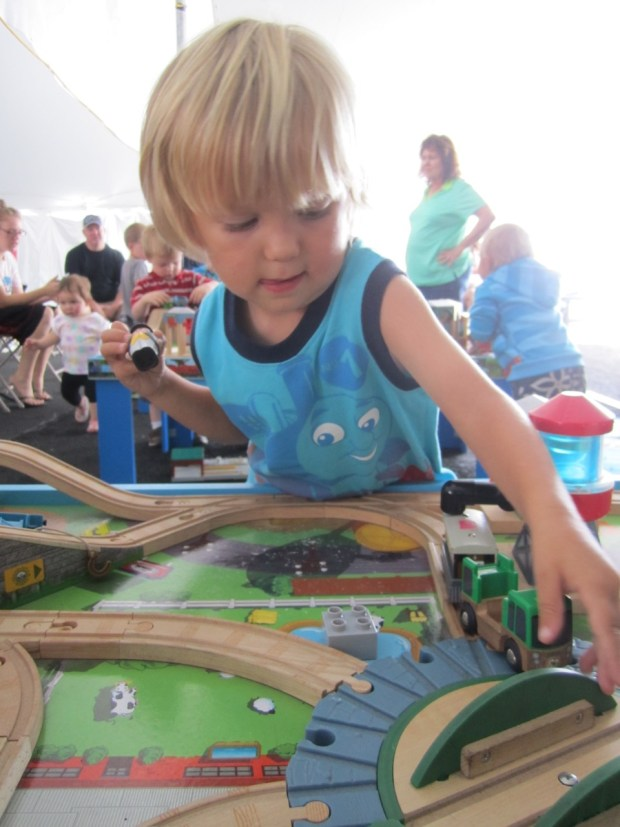 After riding the train and meeting Sir Topham Hat Sully played with toy trains