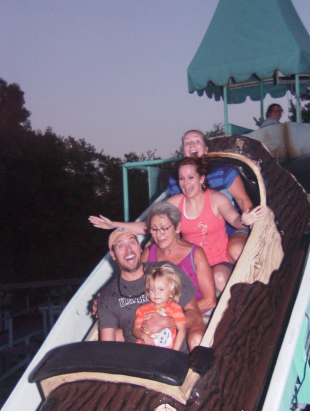 The log flume! The sign said you don't get wet but at the bottom of the big hill we got a little splash!