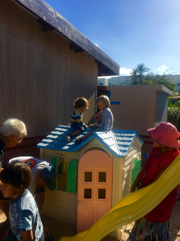 Sully and Rumi on the playhouse