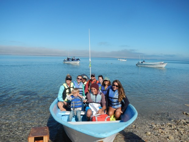 The whole crew loaded up in the panga ready to go whale watching. From Left to right in the back row: Theresa, Natalie, John, Nate (Me), Rose and Cindy. Front row: Sully, Niko and Journey