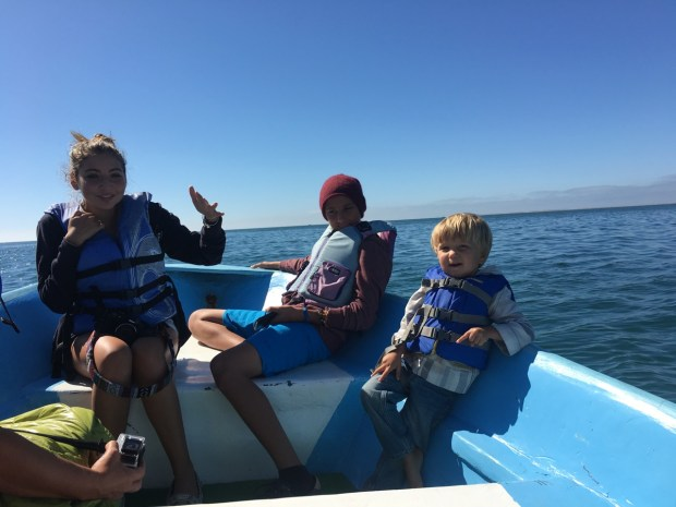 Journey, Niko and Sully in the bow of the panga
