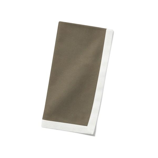 Cocoa with white Linen Napkin Folded
