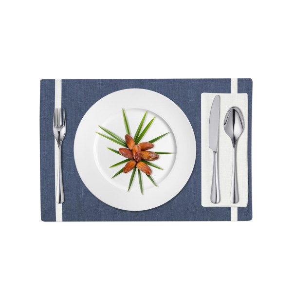 Navy and White Linen Placemat