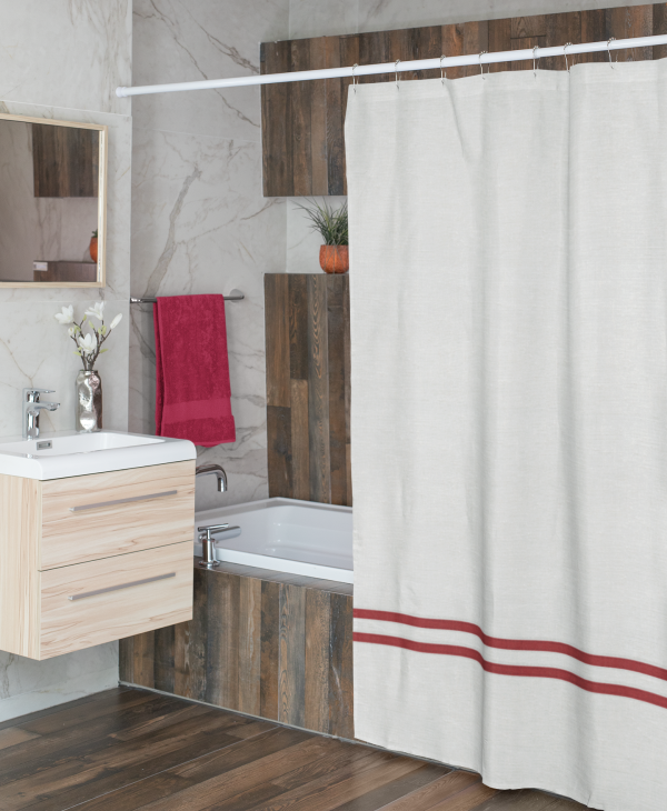 White Linen with Red Shower Curtain