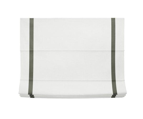 White and slate gray linen roman shade