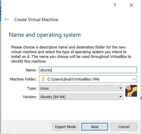 Create Virtual Machine Screen