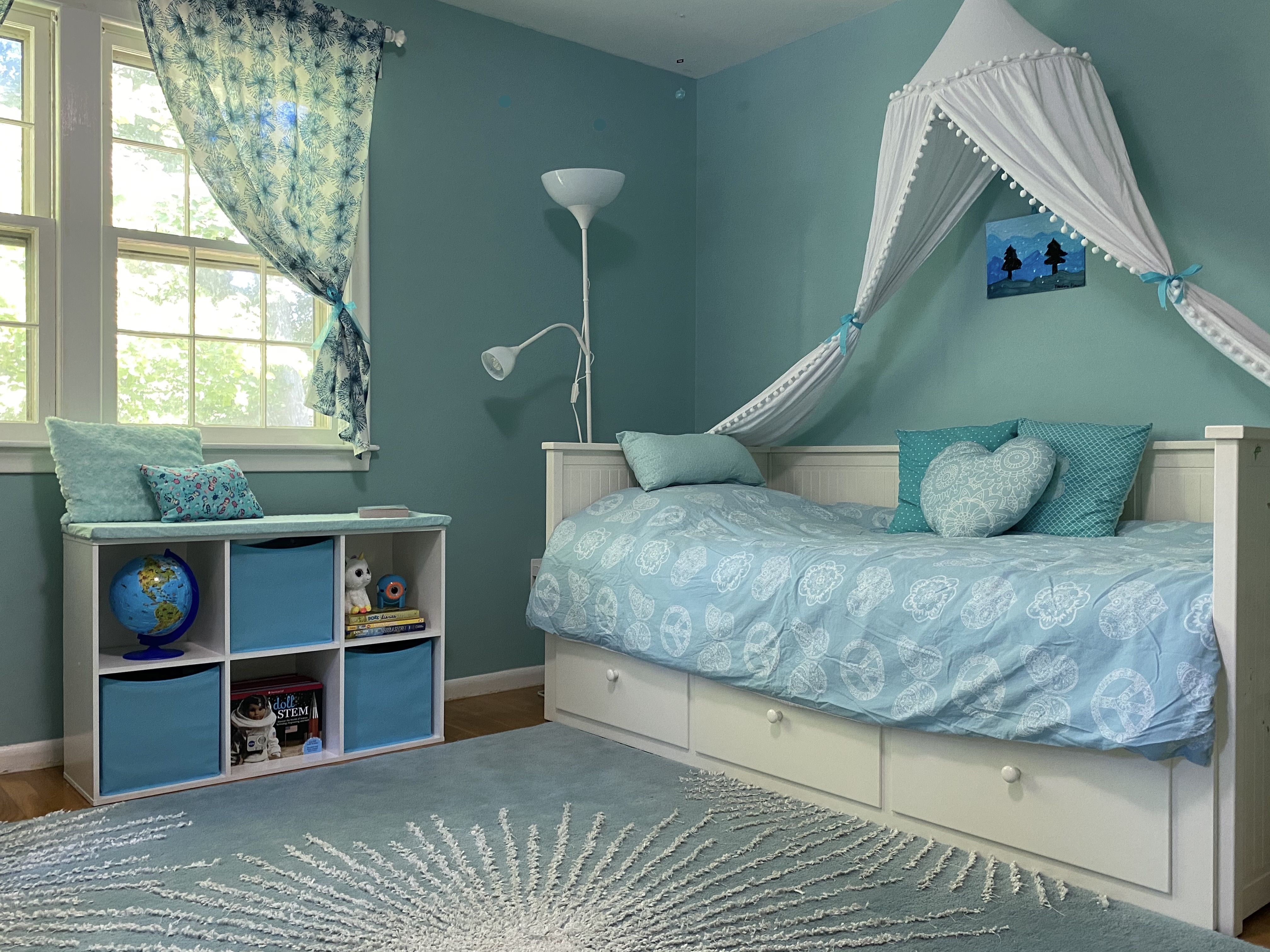 Girl Room Canopy Bed and Window Seat
