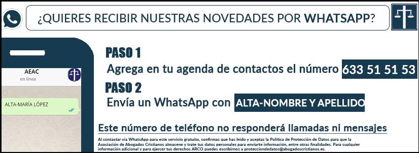 Pasos para apuntarte al sistema de alertas por WhatsApp