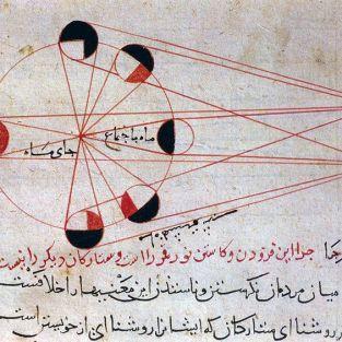 """رسم إيضاحي في كتاب """"التفهيم"""" للبيروني باللغة الفارسية يبين أطوار القمر."""