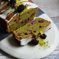 Pistachio, Blackberry, and Lemon Loaf Cake