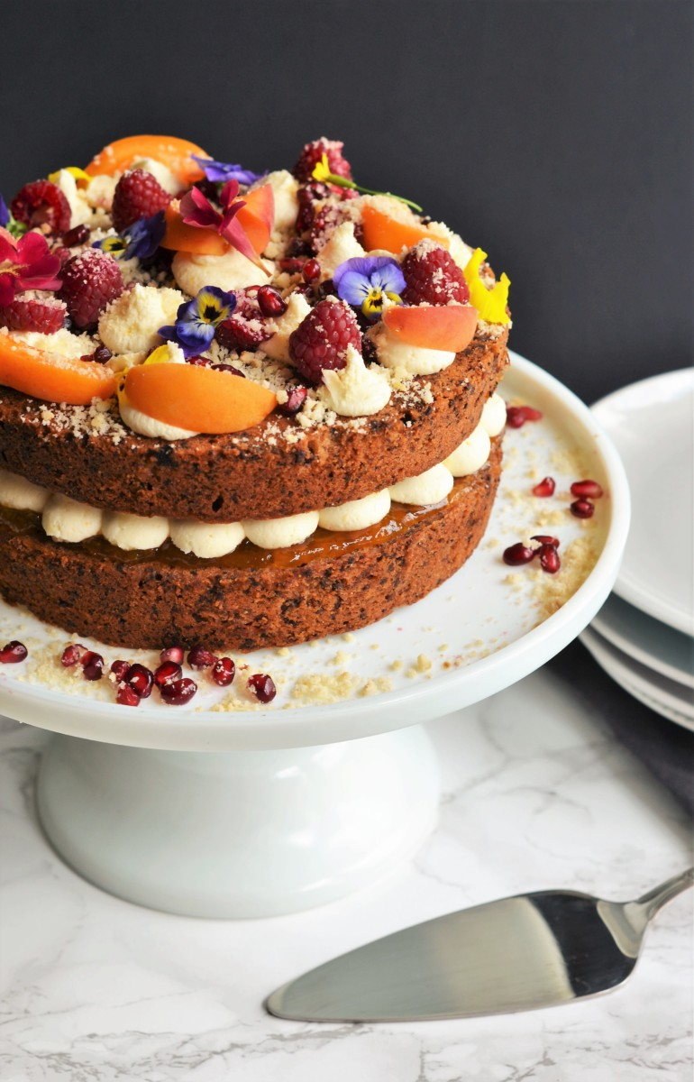 Apricot, Hazelnut, & Dark Chocolate Cake