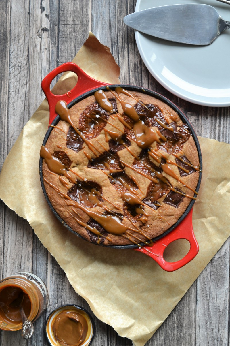 Chocolate Caramel Skillet Cookie
