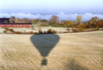 Picture of the shadow of a hot air baloon