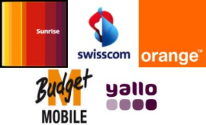 Sunrise Swisscom Orange Mbudget und Yallo