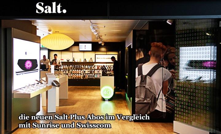 Salt im Vergleich mit Sunrise Swisscom Zurich Flughafen Shop Foto