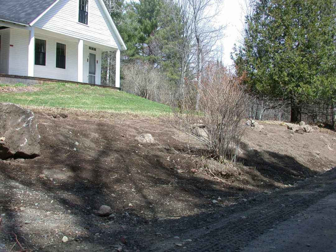 Landscape Design at Frost Place in Franconia, NH- front before