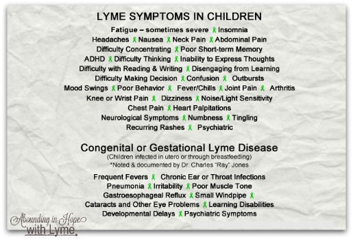 Children's Lyme Symptoms