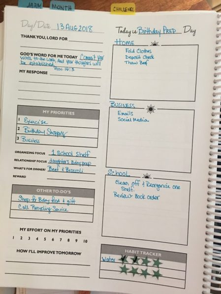 Planner Page from the Organized Homeschool Life Planner